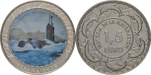 Lieferumfang:Spanien : 1,5 Euro U-Boot Galerna #19  2019 Stgl.