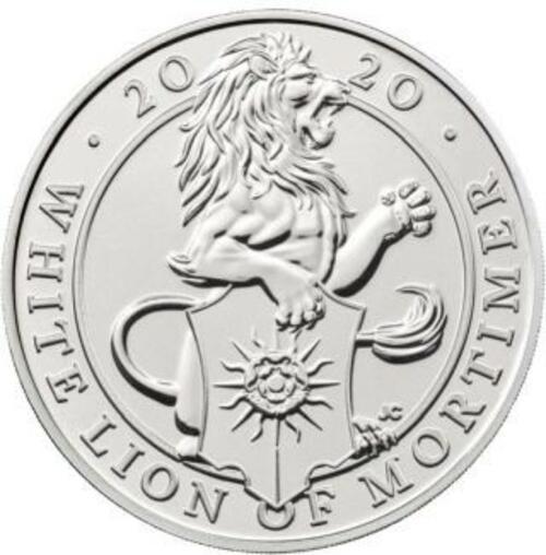 Vorderseite:Großbritannien : 5 Pfund The Queen´s Beasts #7 - Weißer Löwe im Blister  2020 Stgl.