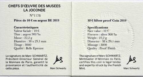 Zertifikat:Frankreich : 10 Euro Mona Lisa - farbig  2019 PP