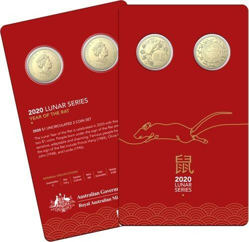 Lieferumfang:Australien : 2x1 Dollar RAM Jahr der Ratte - 2er Set in Coincard  2020 Stgl.