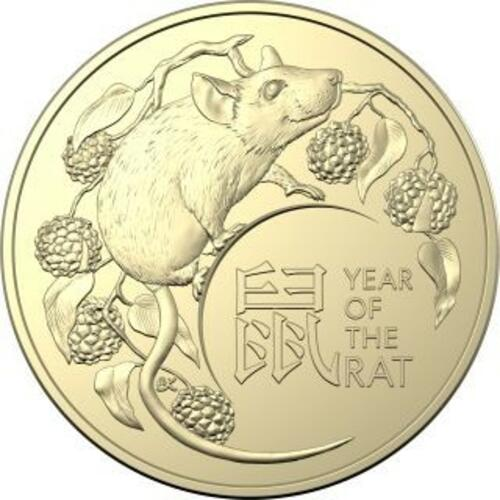 Vorderseite:Australien : 2x1 Dollar RAM Jahr der Ratte - 2er Set in Coincard  2020 Stgl.