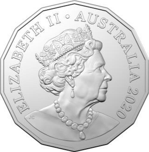 Rückseite:Australien : 50 Ct RAM Jahr der Ratte - Tetradecagon im Blister  2020 Stgl.