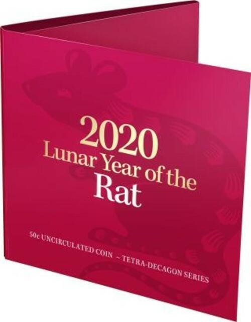 Zertifikat:Australien : 50 Ct RAM Jahr der Ratte - Tetradecagon im Blister  2020 Stgl.