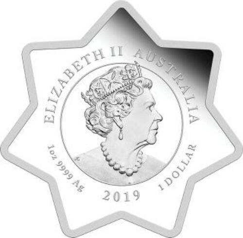 Zertifikat:Australien : 1 Dollar Weihnachtsrentier - in Sternform  1 oz  2019 Stgl.