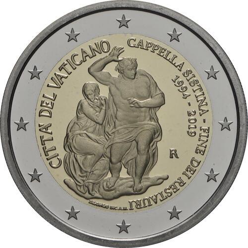 Rückseite:Vatikan : 2 Euro 25. Jahrestag der Restaurierung der Sixtinischen Kapelle  2019 PP