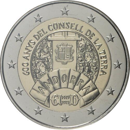 Rückseite:Andorra : 2 Euro 600 Jahre Weltkonzil  2019 bfr