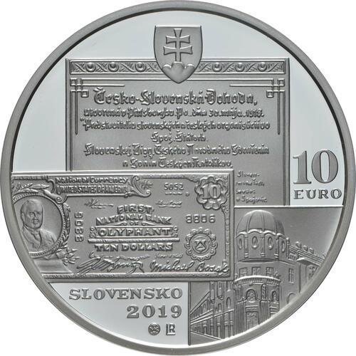 Rückseite:Slowakei : 10 Euro 150. Geburtstag Michal Bosak  2019 PP