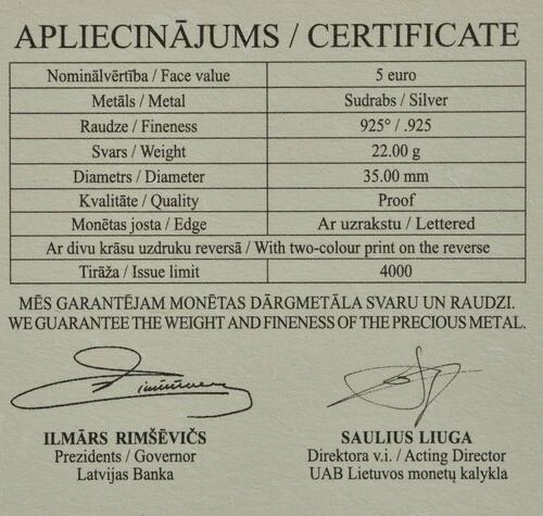 Zertifikat:Lettland : 5 Euro Freiheitskämpfe 1918-1920  2019 PP