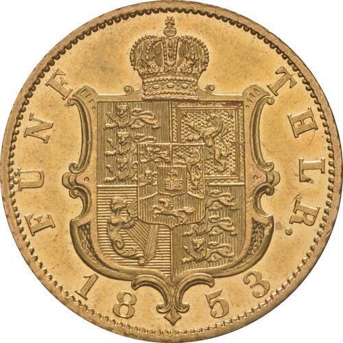 Rückseite:Deutschland : 5 Taler Georg V.  1853 vz.