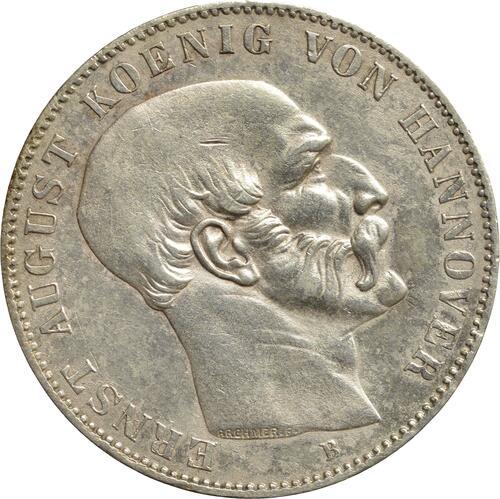 Vorderseite:Deutschland : 1 Ausbeutetaler Ernst August winz. Kratzer, Rs. 1850 vz.