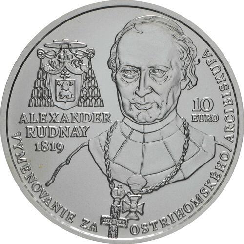 Rückseite:Slowakei : 10 Euro A. Rudnay/100 J. Ernennung zum Erzbischof  2019 Stgl.
