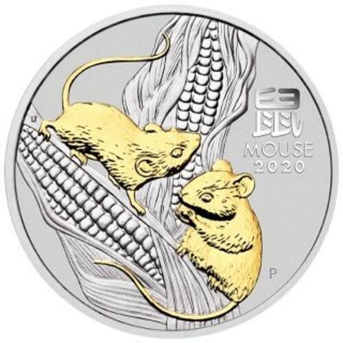 Vorderseite:Australien : 1 Dollar Jahr der Maus - vergoldet, im Etui  2020 Stgl.