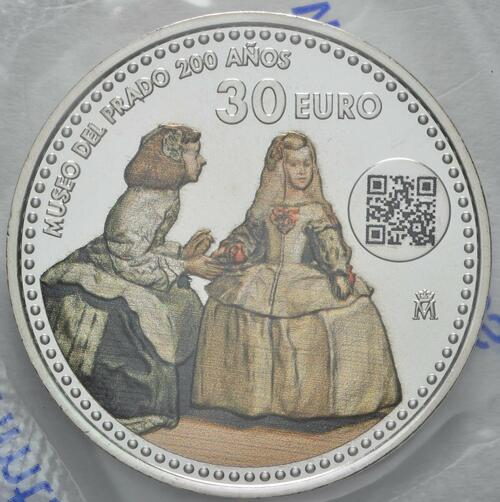 Vorderseite:Spanien : 30 Euro 200 Jahre Prado Museum  2019 bfr