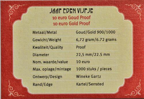 Zertifikat:Niederlande : 10 Euro Jaap Eden  2019 PP