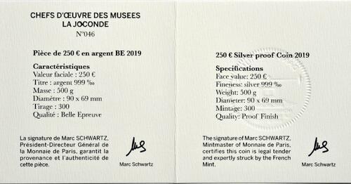 Zertifikat:Frankreich : 250 Euro Mona Lisa  2019 PP
