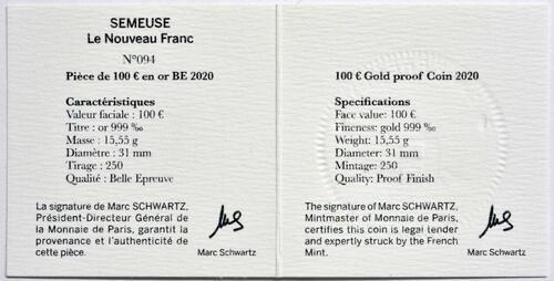 Zertifikat:Frankreich : 100 Euro 60 Jahre neuer Franc  2020 PP