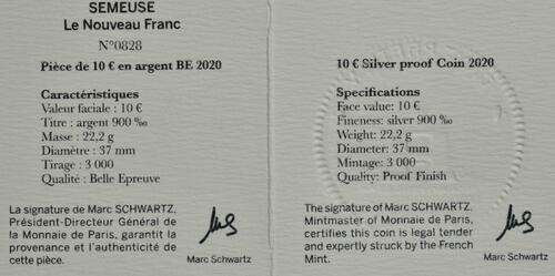 Zertifikat:Frankreich : 10 Euro 60 Jahre neuer Franc  2020 PP