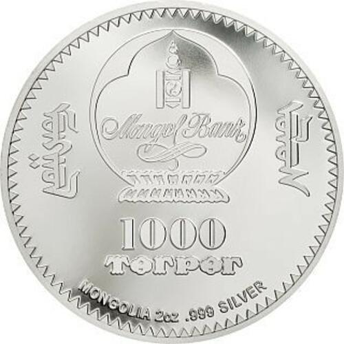 Rückseite:Mongolei : 1000 T Faberge Ei - 100. Todestag P.C. Faberge  2 oz  2020 PP