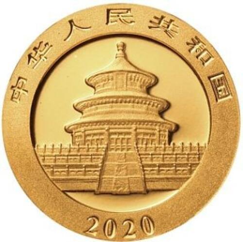 Vorderseite:China : 50 Yuan Goldpanda 3 gr.  2020 Stgl.
