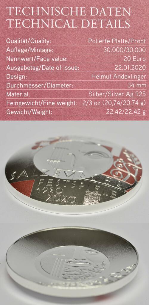 Zertifikat:Österreich : 20 Euro 100 J. Salzburger Festspiele - Sonderausgabe farbig  2020 PP