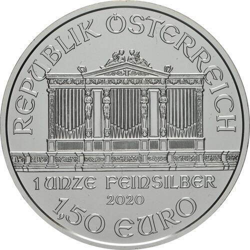 Rückseite:Österreich : 1,5 Euro Philharmoniker   2020 Stgl.