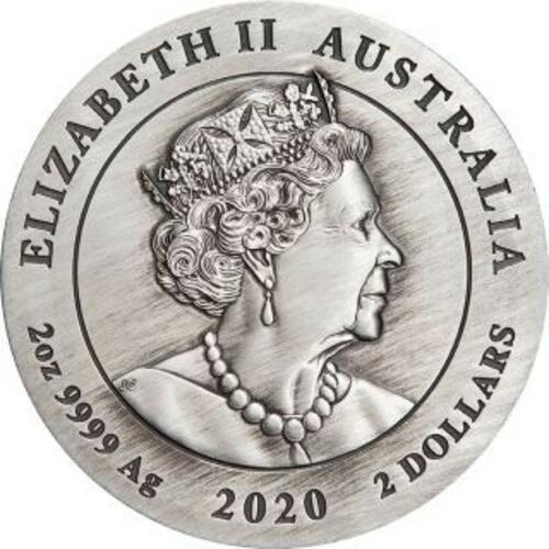 Rückseite:Australien : 2 Dollar Jahr der Maus 2 oz  2020 Stgl.