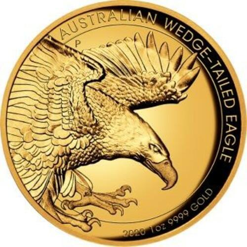 Vorderseite:Australien : 100 Dollar Keilschwanzadler - Highrelief 1 oz  2020 PP