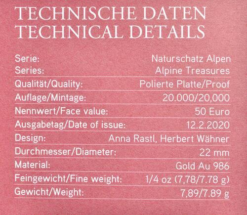 Zertifikat:Österreich : 50 Euro Hohe Tauern 1 von 3  2020 PP