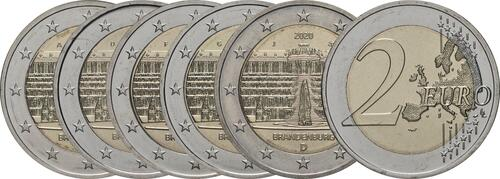 Lieferumfang:Deutschland : 2 Euro Brandenburg - Schloss Sanssouci Komplettsatz ADFGJ 5 Münzen  2020 bfr