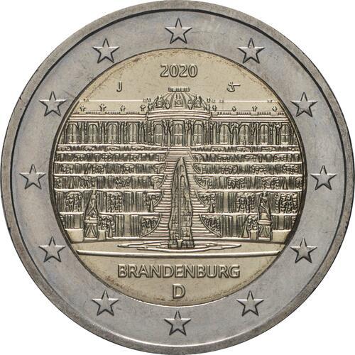 Rückseite:Deutschland : 2 Euro Brandenburg - Schloss Sanssouci Buchstabe unserer Wahl   2020 bfr