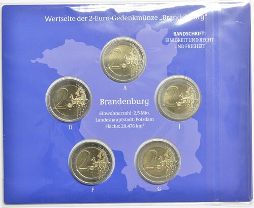 Rückseite:Deutschland : 2 Euro Brandenburg - Schloss Sanssouci Komplettsatz 5x2 Euro  2020 Stgl.
