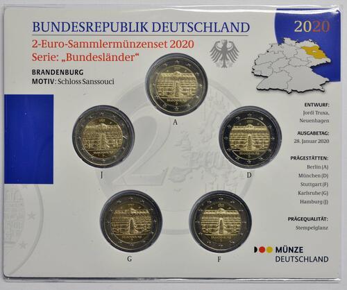 Vorderseite:Deutschland : 2 Euro Brandenburg - Schloss Sanssouci Komplettsatz 5x2 Euro  2020 Stgl.