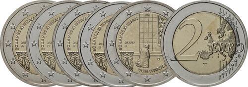 Lieferumfang:Deutschland : 2 Euro 50 Jahre Kniefall von Warschau Komplettsatz ADFGJ 5 Münzen  2020 bfr