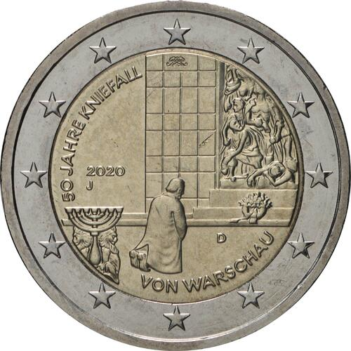 Rückseite:Deutschland : 2 Euro 50 Jahre Kniefall von Warschau Buchstabe unserer Wahl  2020 bfr