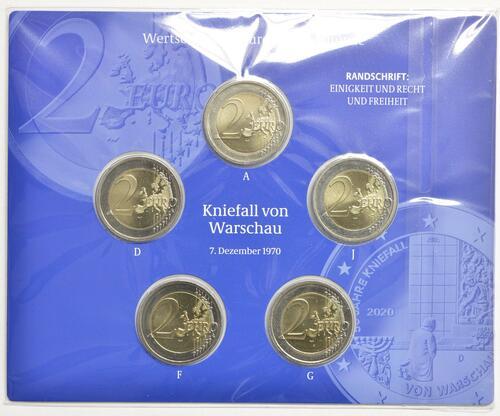 Rückseite:Deutschland : 2 Euro 50 Jahre Kniefall von Warschau Komplettsatz 5x2 Euro  2020 Stgl.