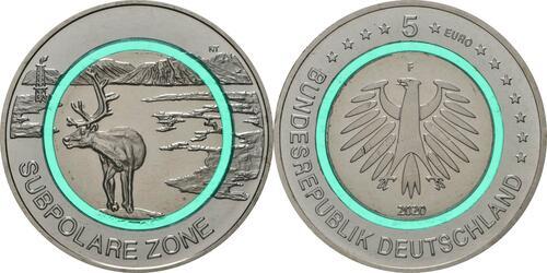 Lieferumfang:Deutschland : 5 Euro Subpolare Zone - türkis Buchstabe unserer Wahl  2020 bfr