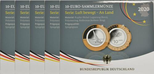 Lieferumfang:Deutschland : 10 Euro An Land  Komplettsatz 5 Münzen ADFGJ  2020 PP