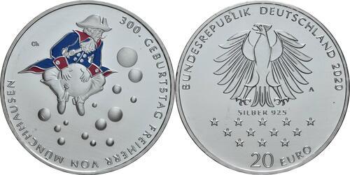 Lieferumfang:Deutschland : 20 Euro 300. Geburtstag Freiherr von Münchhausen  2020 bfr