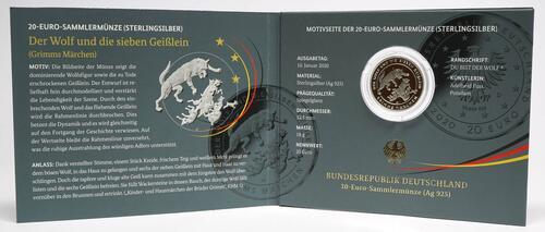 Lieferumfang:Deutschland : 20 Euro Der Wolf und die sieben Geißlein  2020 PP