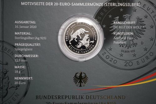 Zertifikat:Deutschland : 20 Euro Der Wolf und die sieben Geißlein  2020 PP