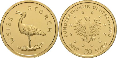 Lieferumfang:Deutschland : 20 Euro Weißstorch Buchstabe unserer Wahl  2020 Stgl.