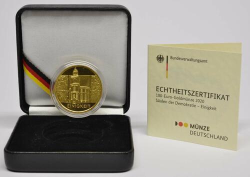 Lieferumfang:Deutschland : 100 Euro Einigkeit Komplettsatz 5 Münzen A-J  2020 Stgl.