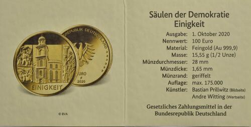 Zertifikat:Deutschland : 100 Euro Einigkeit Komplettsatz 5 Münzen A-J  2020 Stgl.