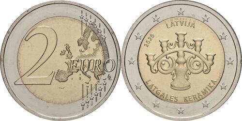 Lieferumfang:Lettland : 2 Euro Keramik Lettgallens  2020 bfr