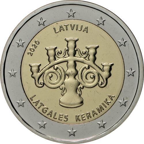 Rückseite:Lettland : 2 Euro Keramik Lettgallens  2020 Stgl.