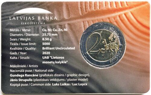 Zertifikat:Lettland : 2 Euro Keramik Lettgallens  2020 Stgl.