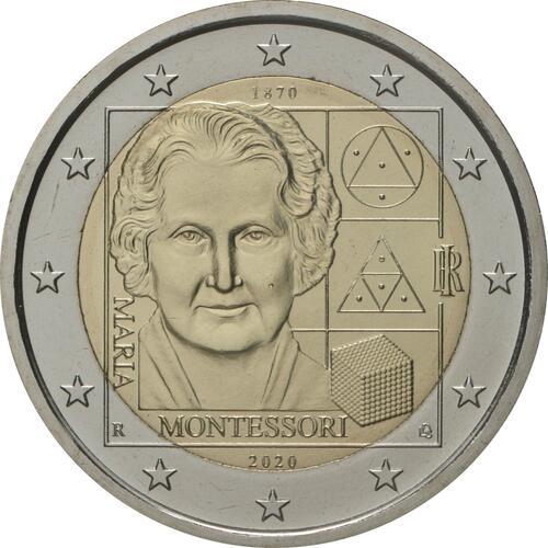 Rückseite:Italien : 2 Euro 150. Geburtstag von Maria Montessori  2020 bfr