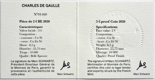 Zertifikat:Frankreich : 2 Euro Charles de Gaulle  2020 PP