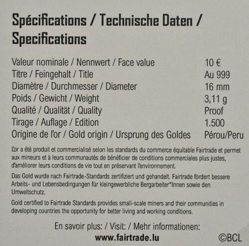 Zertifikat:Luxemburg : 10 Euro Melusina  2021 PP