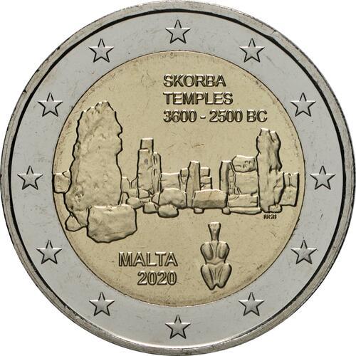 Rückseite:Malta : 2 Euro Tempel von Skorba  2020 bfr